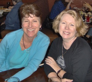 Gayle Carline and I take turns flirting with the waiter at PF Chang's.
