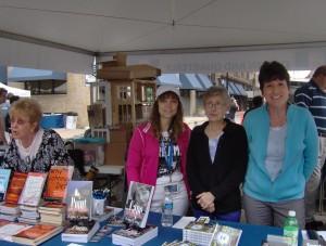 Marlis, Pam, Beth, and I sell books at Printers Row.